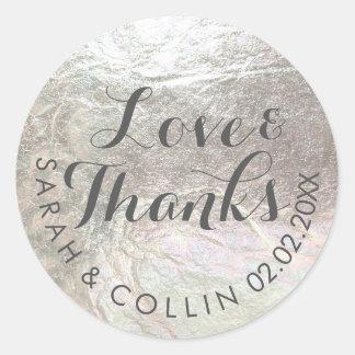 PixDezinesの模造のな銀か愛またはthanks/DIYの文字 ラウンドシール
