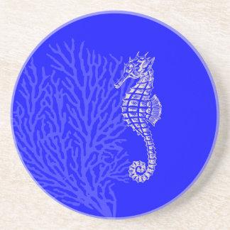 PixDezinesの珊瑚+タツノオトシゴか自然+コバルトブルー コースター