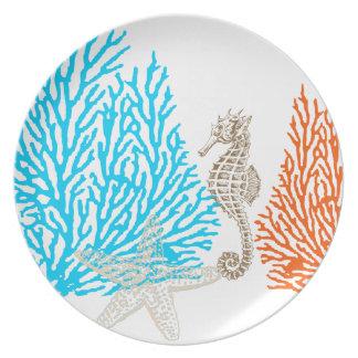PixDezinesの珊瑚+seahorse/DIYの背景色! プレート