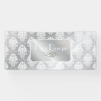 PixDezinesの白のダマスク織 + 銀製の調子 横断幕