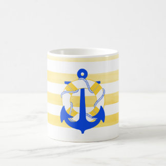 PixDezinesの航海のなストライブ柄かいかり コーヒーマグカップ