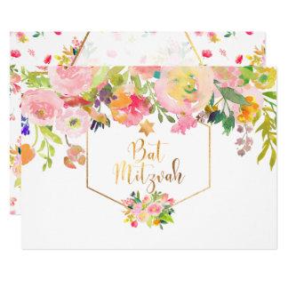 PixDezinesの花の水彩画かシャクヤクまたはバルミツワー 12.7 X 17.8 インビテーションカード
