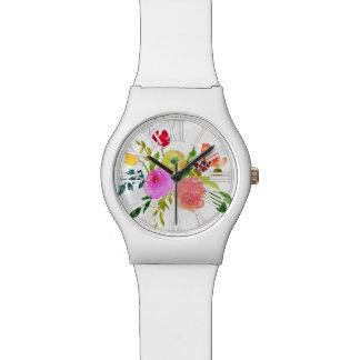 PixDezinesの花の水彩画かローマのNumeros 腕時計
