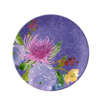 PixDezinesの花柄かwatercolor/DIYの背景 磁器プレート