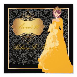 PixDezinesの菓子16のダマスク織またはQuinceañeraまたはマルメロのaños カード