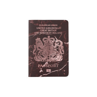 PixDezinesの赤い大理石かのどのばら色の金ゴールドまたはイギリス パスポートカバー