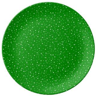 PixDezinesの雪片かdiyエメラルドグリーン 磁器プレート