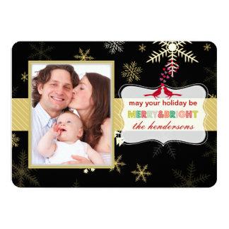 PixDezinesの雪片の休日はカードを望みます カード