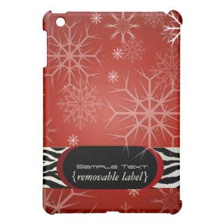 PixDezinesの黒い雪片+赤、モノグラムの♥♥♥ iPad Miniカバー