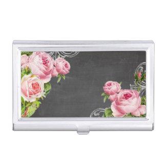 PixDezinesの黒板かヴィンテージのバラ 名刺入れ