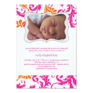 PixDezinesのpavoのダマスク織か誕生の発表またはシャワー カード