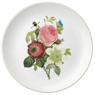 PixDezinesのredoute rose/DIYの背景色 磁器プレート