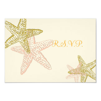 PixDezinesのrsvpのピンクのヒトデ、ビーチ結婚式 カード