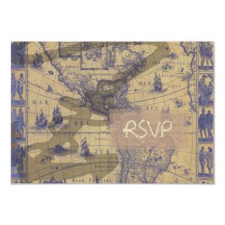 PixDezinesのrsvpのヴィンテージの航海のな世界地図 カード