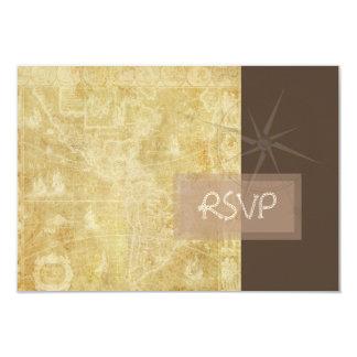 PixDezinesのrsvpのヴィンテージの航海のな地図+コンパス カード
