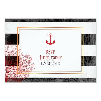 PixDezinesのrsvpの航海のなストライプか赤いいかりか珊瑚 カード