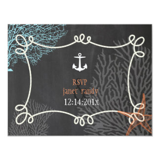 PixDezinesのrsvpの航海のなロープかいかりまたは珊瑚 カード