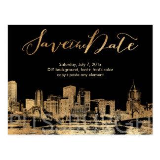 PixDezinesまたは保存の日付またはのどの金ゴールドかピッツバーグのスカイライン ポストカード