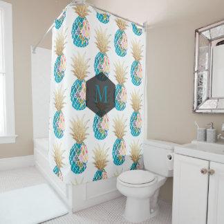 PixDezinesアロハパイナップルまたはAqua/DIYの背景 シャワーカーテン