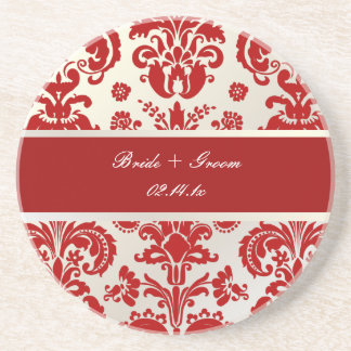 PixDezinesイザベラのダマスク織、モノグラムの結婚式 ビバレッジコースター