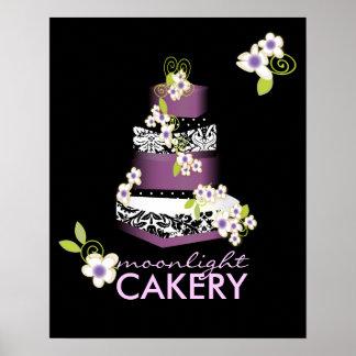 PixDezinesデジレーのダマスク織のケーキ、薄紫 ポスター