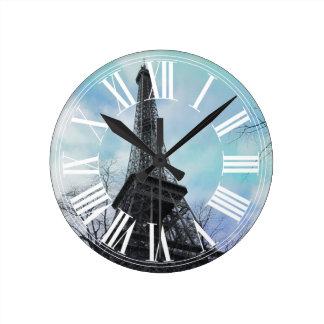PixDezinesパリのエッフェル塔 ラウンド壁時計