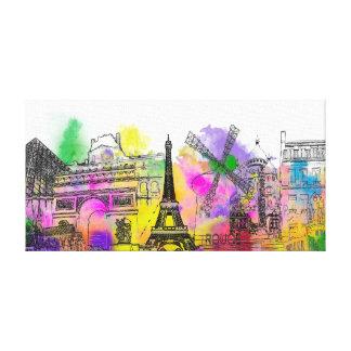 PixDezinesパリ色の操業、エッフェル塔 キャンバスプリント