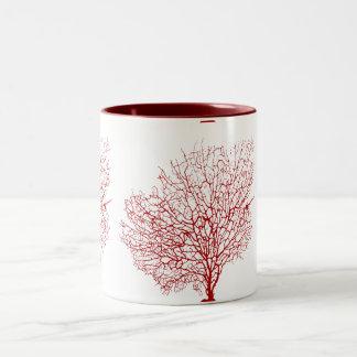 PixDezines赤いマウイの珊瑚 ツートーンマグカップ