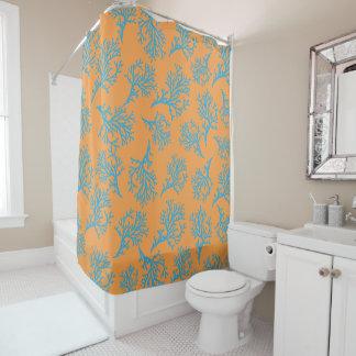 PixDezines青いCorals/DIYの背景のオレンジ シャワーカーテン