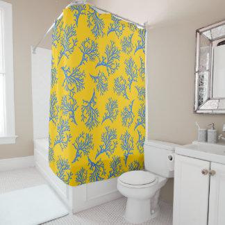 PixDezines青いCorals/DIYの背景の黄色 シャワーカーテン