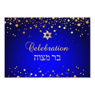 PixDezines (ユダヤ教の)バル・ミツバーのお祝い、模造のな金ゴールドの紙吹雪 カード