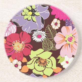 PixDezines Alegreのレトロの花柄、カスタムな背景 コースター