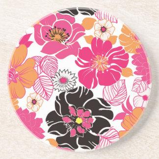 PixDezines Alegreのレトロの花柄 コースター