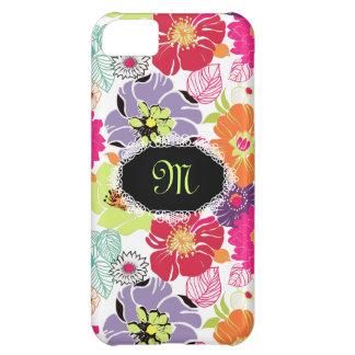 PixDezines Alegreのレトロの花柄、DIY色+モノグラム iPhone5Cケース