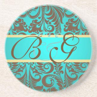 PixDezines Bellissimoのダマスク織、モノグラムの結婚式 コースター