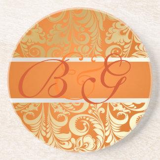 PixDezines Bellissimoのダマスク織、モノグラムの結婚式 ビバレッジコースター
