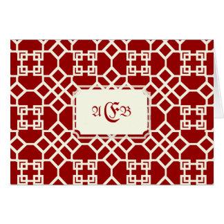 PixDezines Chinoise Trellis/DIYの赤の背景 カード