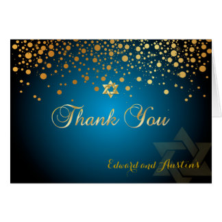 PixDezines Faux Gold  Confetti, Mitzvah Thank You カード