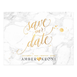 PixDezines Faux Gold/Marble/Save our Date ポストカード