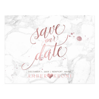 PixDezines Faux Rose Gold/Marble/Save our Date ポストカード