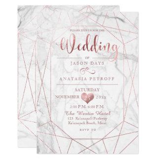 PixDezines Gemstone+Marble/Faux Rose Gold/Wedding カード