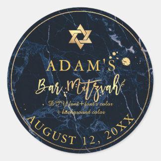 PixDezines Marble Mitzvah Stickers/Midnight Blue ラウンドシール