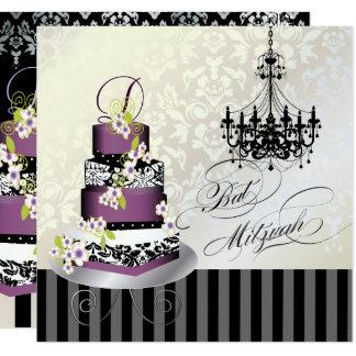 PixDezines MONOGRAM BAT MITZVAH/PLUM PUDDING CAKE カード