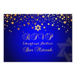 PixDezines RSVP、バー(ユダヤ教の)バル・ミツバー+金ゴールドの紙吹雪 カード