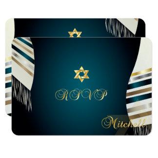 PixDezines RSVP (ユダヤ教の)バル・ミツバーかティール(緑がかった色) tallit 8.9 X 12.7 インビテーションカード