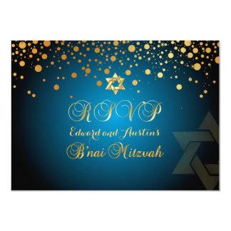 PixDezines RSVP、B'NAI (ユダヤ教の)バル・ミツバー+金ゴールドの紙吹雪 11.4 X 15.9 インビテーションカード