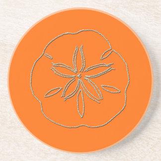 PixDezines Sanddollarのヒトデか自然+オレンジ コースター