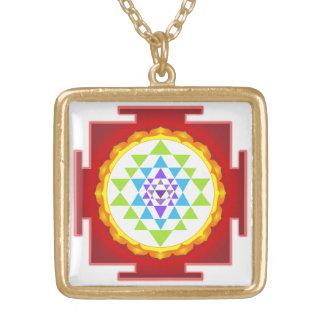 PixDezines Sri Yantra /Rainbow/Chakraの除去 ゴールドプレートネックレス