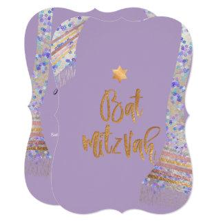 PixDezines Tallit/Lavender Purple/Bat Mitzvah カード
