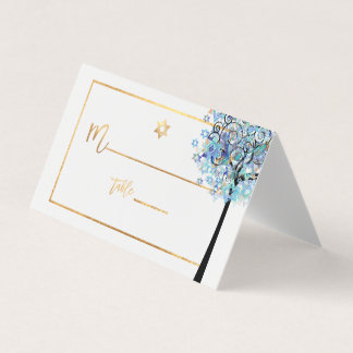 PixDezines Tree of LIfe+Aqua Blue プレイスカード